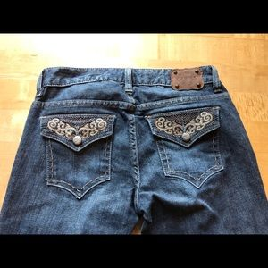 Guess stretch 27 starlet straight leg jeans bling